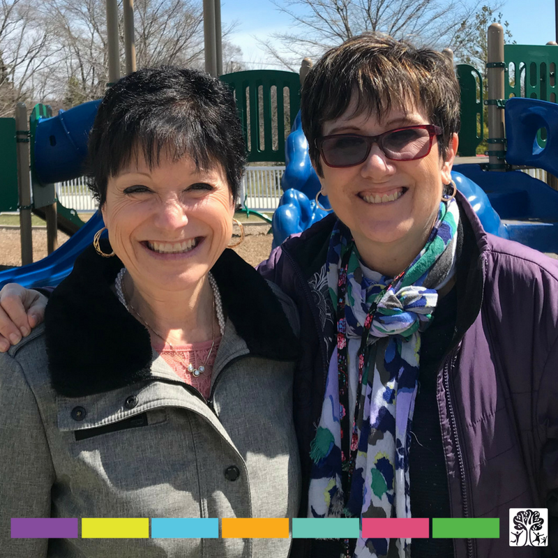 Elaine Fox (left) and Robin Pfenning (right), pose for a photo for Teacher Appreciation Day!