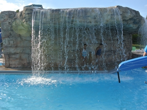 Waterfall feature at Hunt Club Park Aquatic Center.