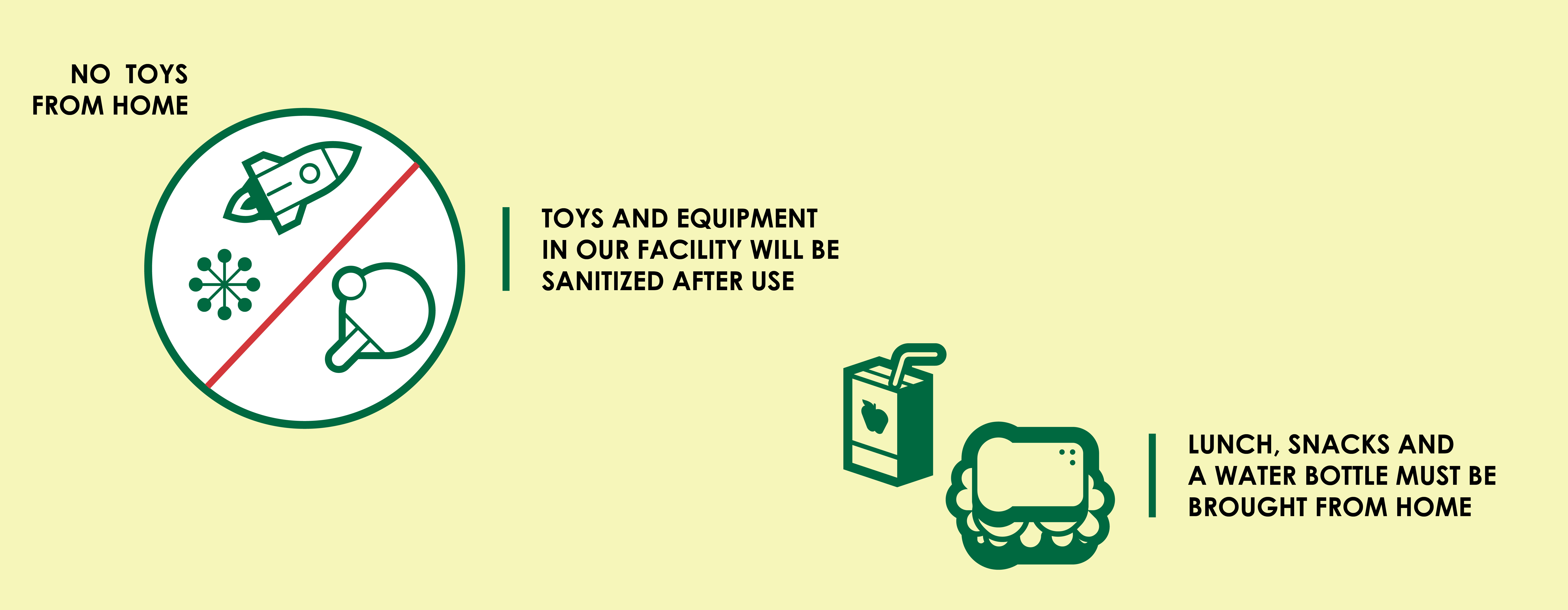 All toys and equipment will be sanitized after use. Lunch, snacks and water bottle must be brought from home.