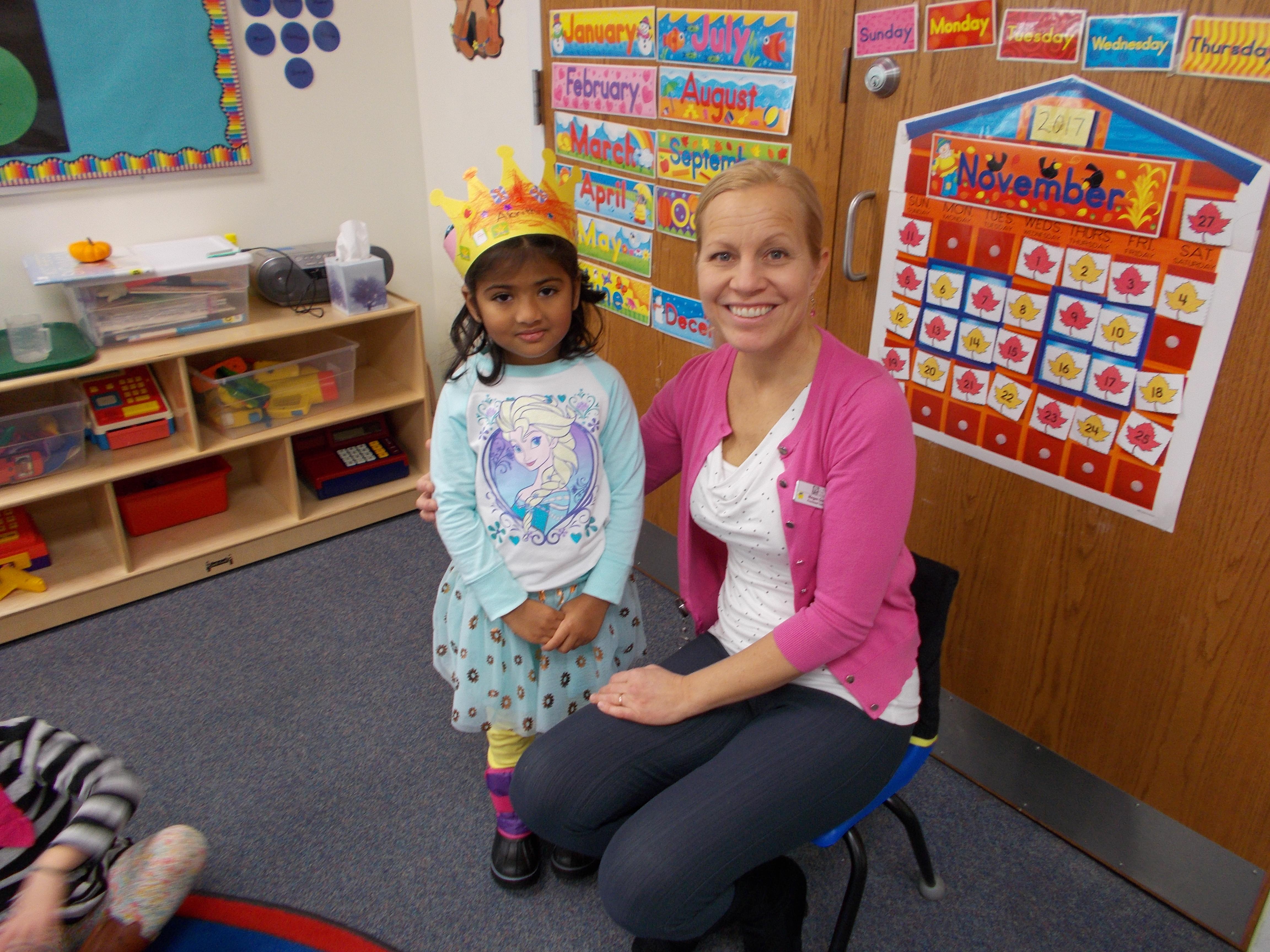 Growing Tree Preschool student with Ms. Megan.